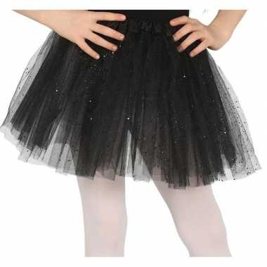 Petticoat/tutu verkleed rokje zwart glitters meisjes carnavalskleding