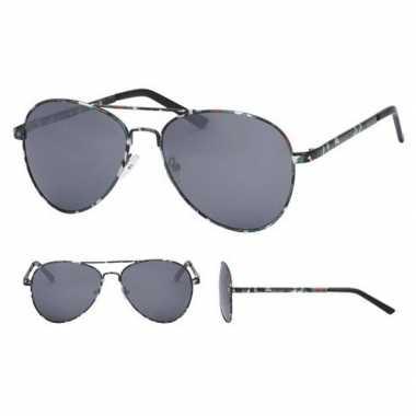 Pilotenbril legerprint zwarte glazen volwassenen carnavalskleding val