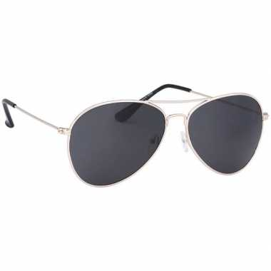 Pilotenbril lichtgoud donkere glazen volwassenen carnavalskleding val