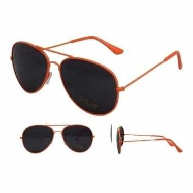 Pilotenbril neon oranje zwarte glazen volwassenen carnavalskleding va