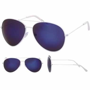 Pilotenbril wit blauwe glazen volwassenen carnavalskleding valkenswaa