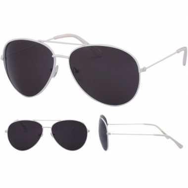 Pilotenbril wit zwarte glazen volwassenen carnavalskleding valkenswaa
