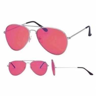 Pilotenbril zilver roze glazen volwassenen carnavalskleding valkenswa