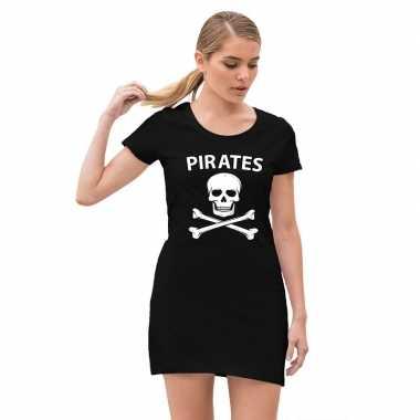 Piraten verkleed jurkje doodshoofd zwart dames carnavalskleding valke