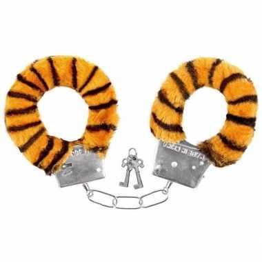 Pluche handboeien tijger volwassenen carnavalskleding valkenswaard