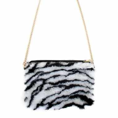 Pluche tasje zebra print dames carnavalskleding valkenswaard