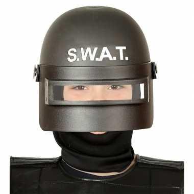 Politie swat verkleed helm vizier kinderen zwart carnavalskleding val