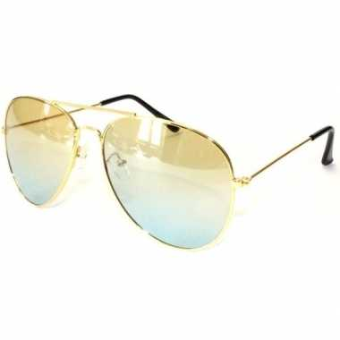 Politiebril goud gele glazen volwassenen carnavalskleding valkenswaar