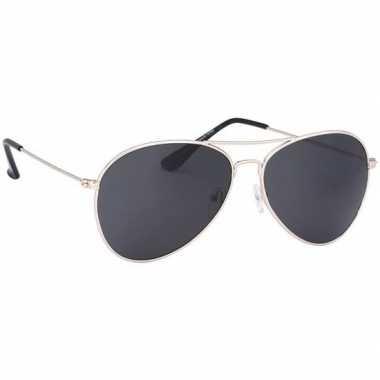Politiebril lichtgoud donkere glazen volwassenen carnavalskleding val
