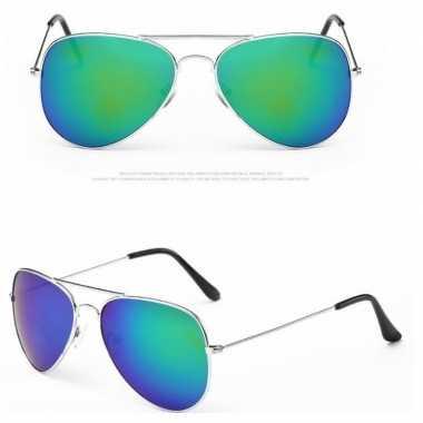 Politiebril zilver blauw/groene glazen volwassene carnavalskleding va