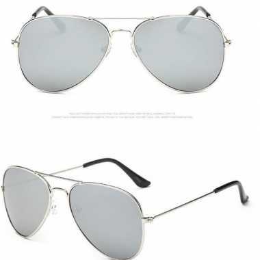 Politiebril zilver lichte glazen volwassenen carnavalskleding valkens