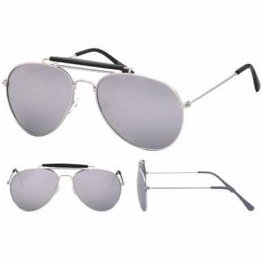 Politiebril zilver spiegel glazen volwassenen carnavalskleding valken