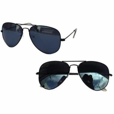 Politiebril zwart donkere glazen volwassenen carnavalskleding valkens
