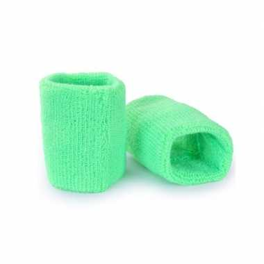 Pols zweetbandjes neon groen volwassenen stuks