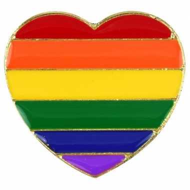 Pride metalen hartje pin/broche/button carnavalskleding valkenswaard