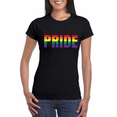 Pride regenboog tekst shirt zwart dames carnavalskleding valkenswaard