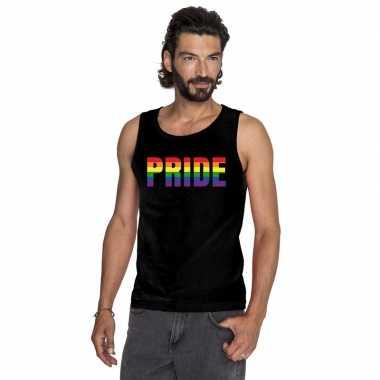 Pride regenboog tekst singlet shirt/ tanktop zwart heren carnavalskle