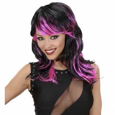 Punk pruik dames zwart roze