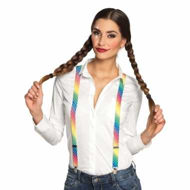 Regenboog bretels dames carnavalskleding valkenswaard