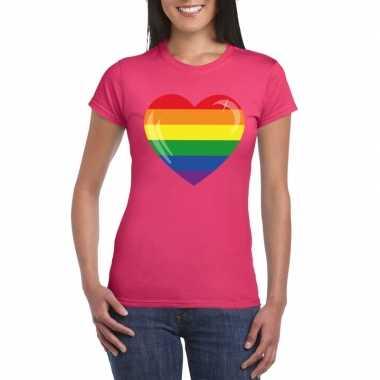 Regenboog vlag hart shirt roze dames carnavalskleding valkenswaard