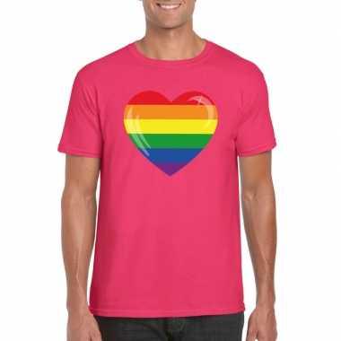 Regenboog vlag hart shirt roze heren carnavalskleding valkenswaard