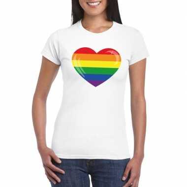 Regenboog vlag hart shirt wit dames carnavalskleding valkenswaard