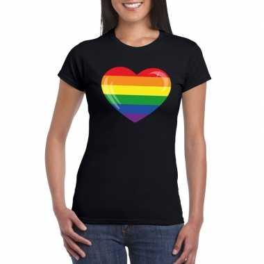 Regenboog vlag hart shirt zwart dames carnavalskleding valkenswaard
