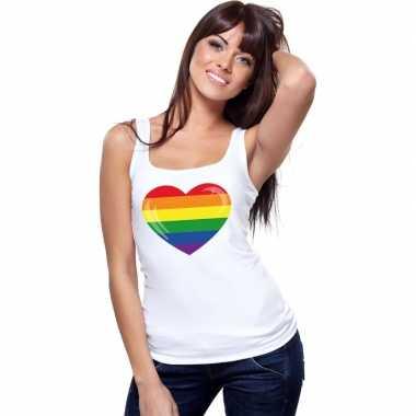 Regenboog vlag hart singlet wit dames carnavalskleding valkenswaard
