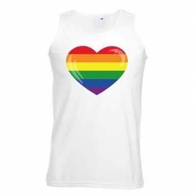 Regenboog vlag hart singlet wit heren carnavalskleding valkenswaard