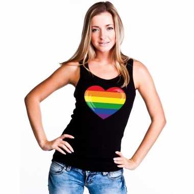 Regenboog vlag hart singlet zwart dames carnavalskleding valkenswaard