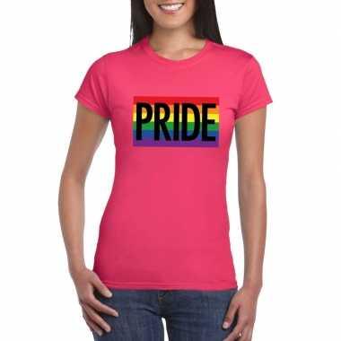 Regenboog vlag pride shirt roze dames carnavalskleding valkenswaard