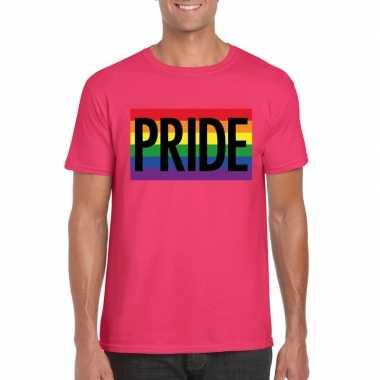 Regenboog vlag pride shirt roze heren carnavalskleding valkenswaard