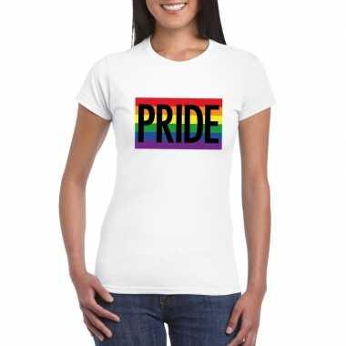 Regenboog vlag pride shirt wit dames carnavalskleding valkenswaard