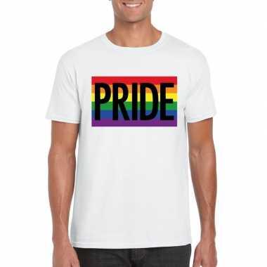 Regenboog vlag pride shirt wit heren carnavalskleding valkenswaard