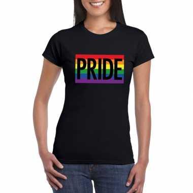 Regenboog vlag pride shirt zwart dames carnavalskleding valkenswaard