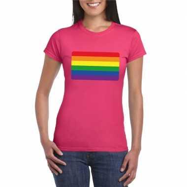 Regenboog vlag shirt roze dames carnavalskleding valkenswaard