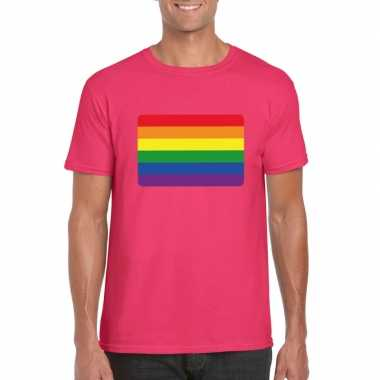 Regenboog vlag shirt roze heren carnavalskleding valkenswaard