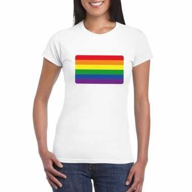 Regenboog vlag shirt wit dames carnavalskleding valkenswaard