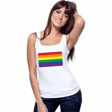 Regenboog vlag singlet wit dames carnavalskleding valkenswaard