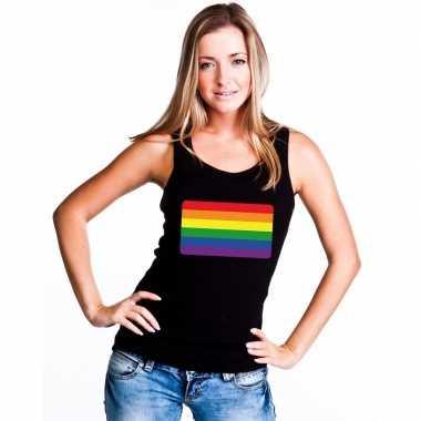 Regenboog vlag singlet zwart dames carnavalskleding valkenswaard