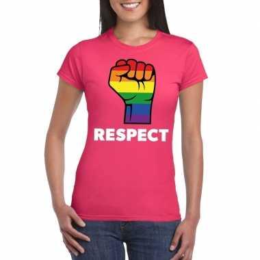 Respect lgbt shirt regenboog vuist roze dames carnavalskleding valken
