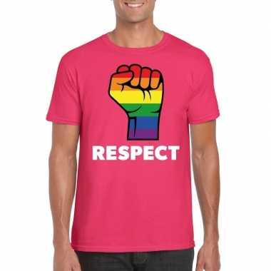 Respect lgbt shirt regenboog vuist roze heren carnavalskleding valken