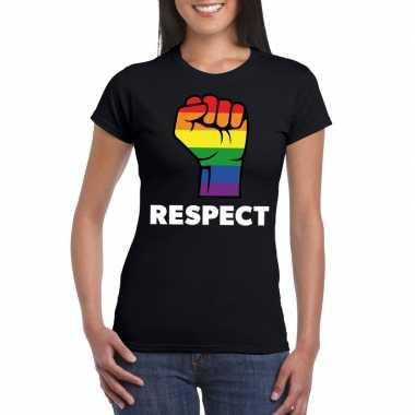 Respect lgbt shirt regenboog vuist zwart dames carnavalskleding valke