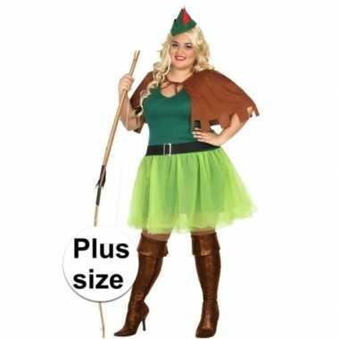 Robin hood plus size carnavalskleding groen/bruin dames valkenswaard