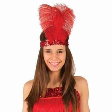 Rode charleston hoofdband veren dames carnavalskleding valkenswaard