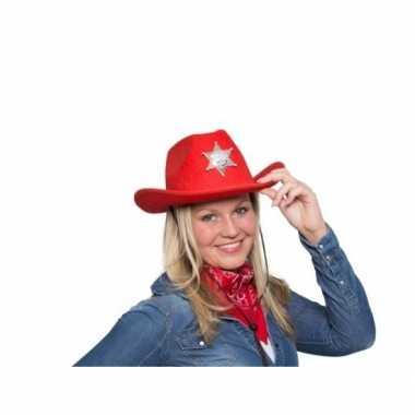 Rode cowgirlhoed / cowboyhoed lichtje carnavalskleding valkenswaard