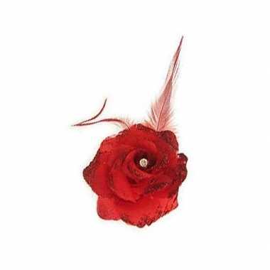 Rode deco bloem speld/elastiek carnavalskleding valkenswaard