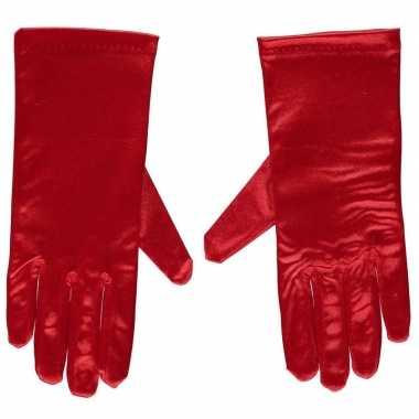 Rode gala handschoenen kort satijn carnavalskleding valkenswaard