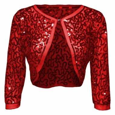 Rode glitter pailletten disco bolero jasje dames carnavalskleding val