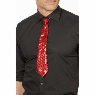 Rode glitter stropdas verkleedaccessoire dames/heren carnavalskleding